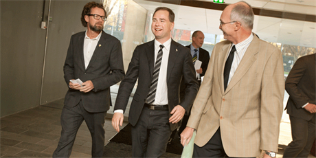 Deputy Head of Department Jan Madsen, Danish Minister of Defence Nicolai Wammen and DTU President Anders Bjarklev at the celebration of the special competence course in Cyber Security under the Computer Security programme, photo Mikal Schlosser