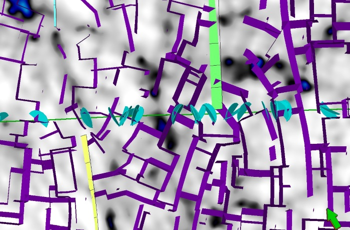 Comparison between our predicted fracture model (in purple) and the fractures observed on borehole images (light blue disks) in a well from the Kraka field.